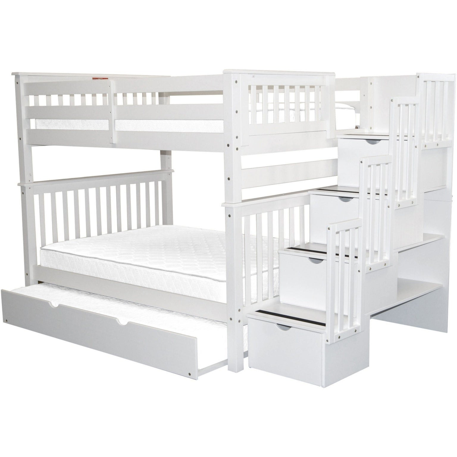 Picture of: Bedz King Stairway Bunk Beds Full Over Full With 4 Drawers In The Steps And A Full Trundle White Overstock 22669884
