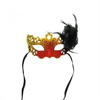 """7"""" Orange, Yellow and Black Glittered Faux Feathered Halloween Masquerade Mask"""