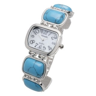 Women's Silvertone and Blue Stone Watch - Chunky Stone Bracelet Adjustable Band - Silver