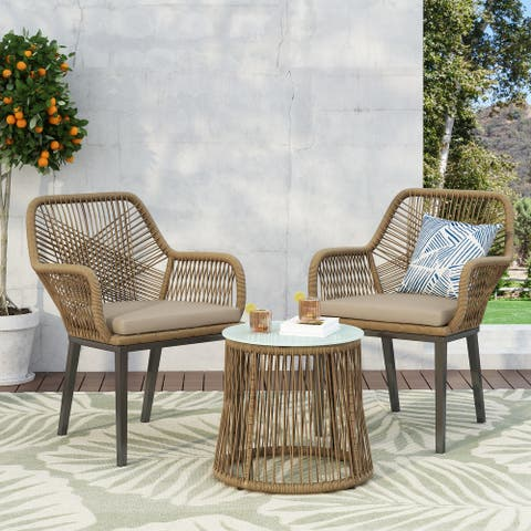 Russel Outdoor Wicker 2 Seater Chat Set by Christopher Knight Home
