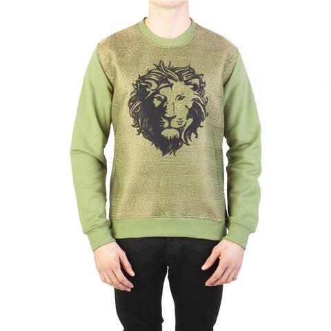 Versace Versus Men's 'Lion' Cotton Crewneck Sweatshirt Olive Green
