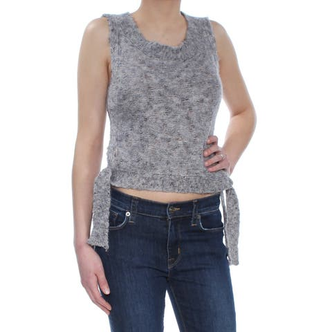 MAX STUDIO Womens Gray Cropped Side Tie Sweater Vest Sleeveless Jewel Neck Sweater Size: XS