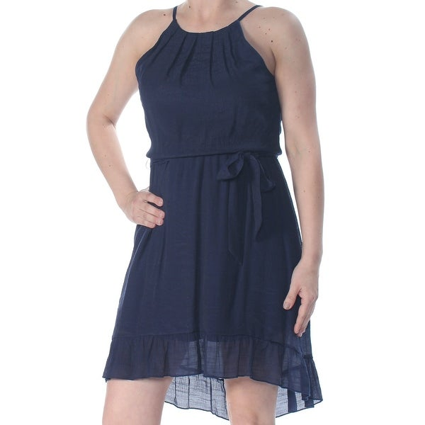 BCX Womens Navy Pleated Tie Halter Above The Knee Trapeze Evening Dress Size: S