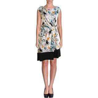 Robert Rodriguez Womens Printed Asymmetric Wear to Work Dress