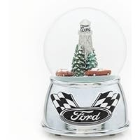 "Set of 2 Musical Christmas Racing Car Glitter Dome 6"""
