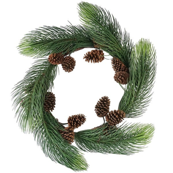 """30"""" Long Pine Needle Artificial Christmas Wreath with Pine Cones - Unlit - green"""