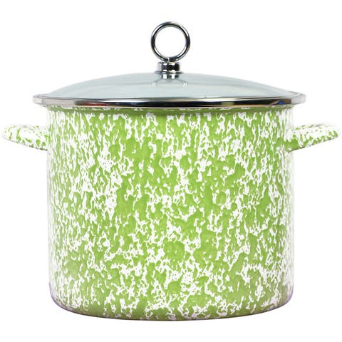 Calypso Basics by Reston Lloyd Vintage Marble Enamel on Steel Stockpot with Glass Lid, 8-Quart, Lime