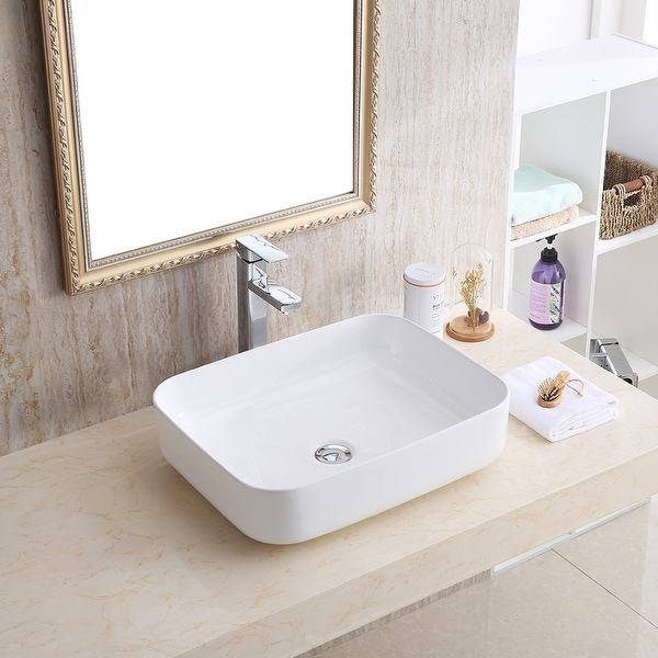 """Karran VC-505-WH Valera 20"""" Vitreous China Vessel Bathroom Sink in White. Opens flyout."""