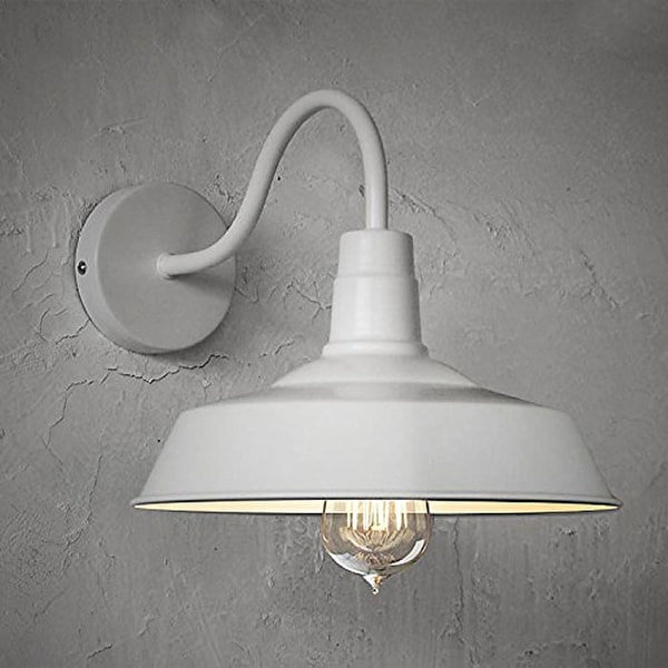 Vintage industrial gooseneck arm wall sconce with white finish