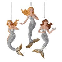 Kurt Adler Silver and Gold Under the Sea Mermaids  Holiday Ornaments Set of 3