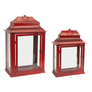 """Set of 2 Antique Red Decorative Glass and Metal Table Top Lanterns 21"""""""