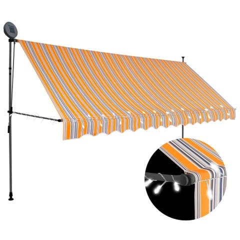 """vidaXL Manual Retractable Awning with LED 157.5"""" Yellow and Blue"""