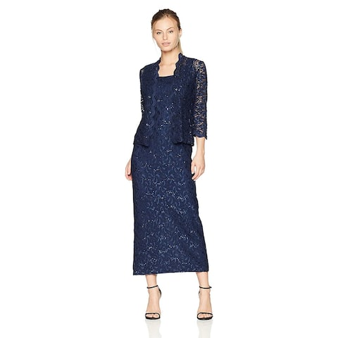 Alex Evenings Women's Two-Piece Long Dress and Jacket (Petite, Navy, Size 18.0 - 18