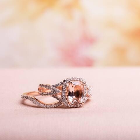 Halo Crossover Morganite 1/4ct TDW Diamond 10k Rose Gold Bridal Set by Miadora