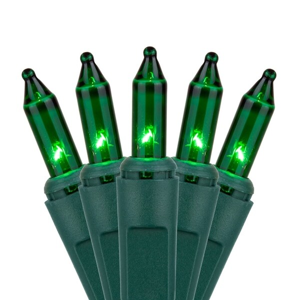 "Wintergreen Lighting 15194 25.5' Long Indoor Standard 50 Mini Light Holiday Light Strand with 6"" Spacing and Green Wire"