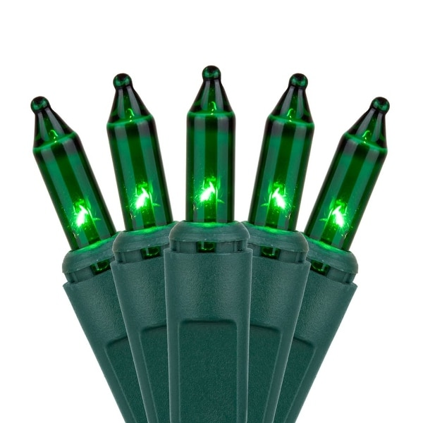 """Wintergreen Lighting 17526 21.1' Long Outdoor Standard 100 Mini Light Holiday Light Strand with 2.5"""" Spacing and Green Wire"""