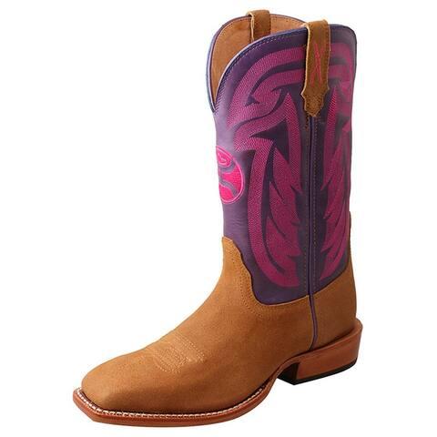 HOOey Western Boots Women Hooey Pull On Leather Tan Purple