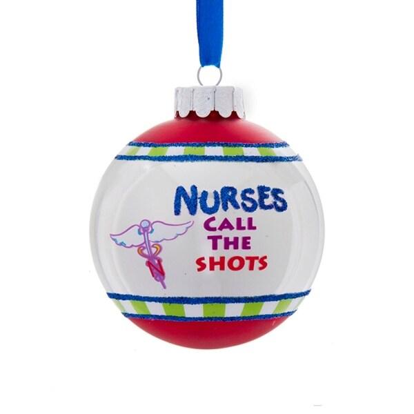 "3"" Blue Glittered ""Nurses Call the Shots"" Christmas Ball Ornament - multi"