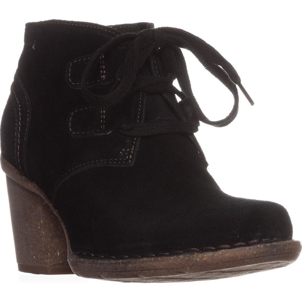 Clarks Carleta Lyon Lace Up Ankle Boots, Black Suede