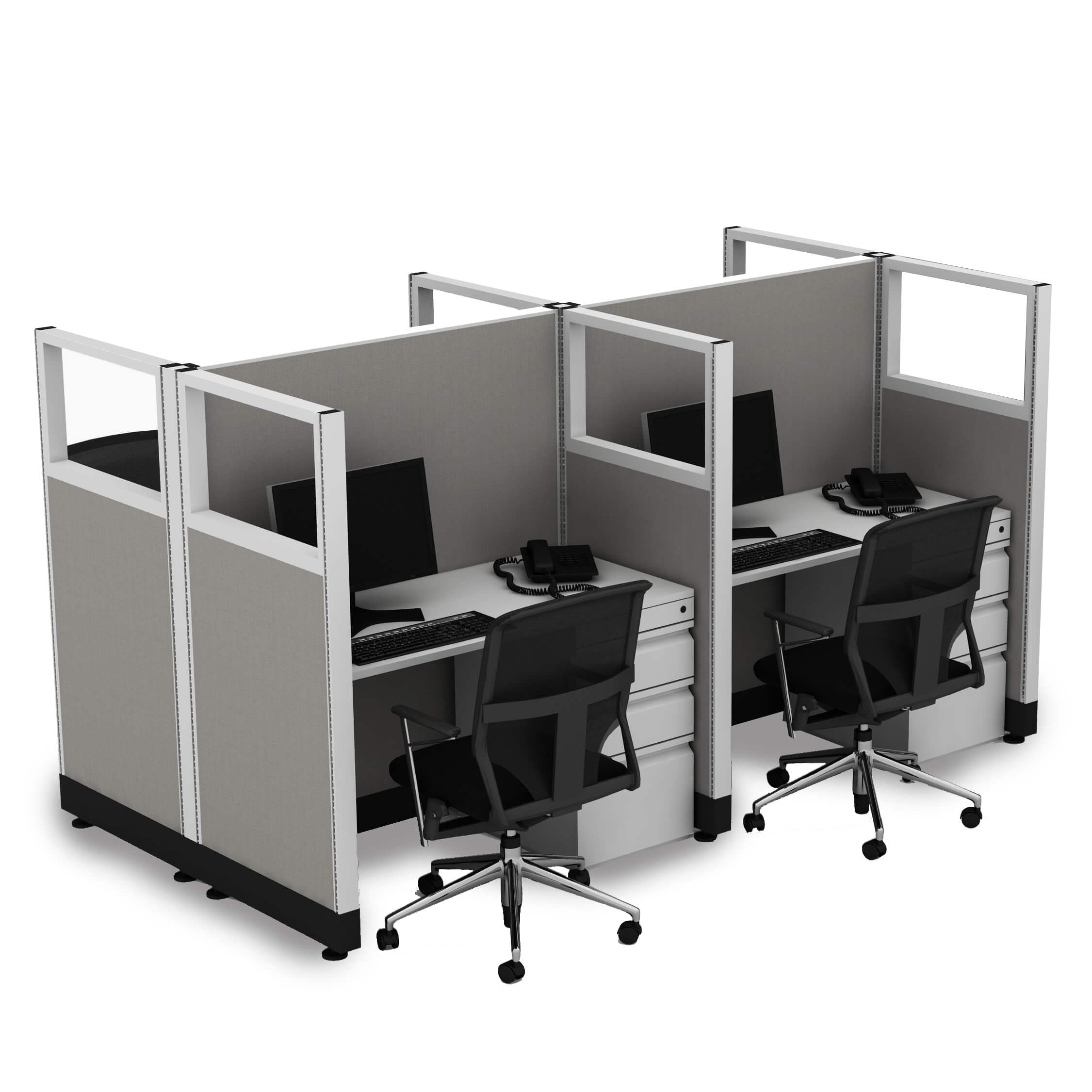 Cubicle Workstations 53H 4pack Cluster Powered (3x4 - White Desk Silver Paint - Assembled)