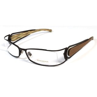 Boucheron Unisex Rectangular Rounded Eyeglasses Silver/Wood - Black - S