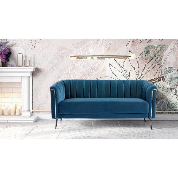 Divani Casa Patton Modern Blue Fabric Sofa. Opens flyout.