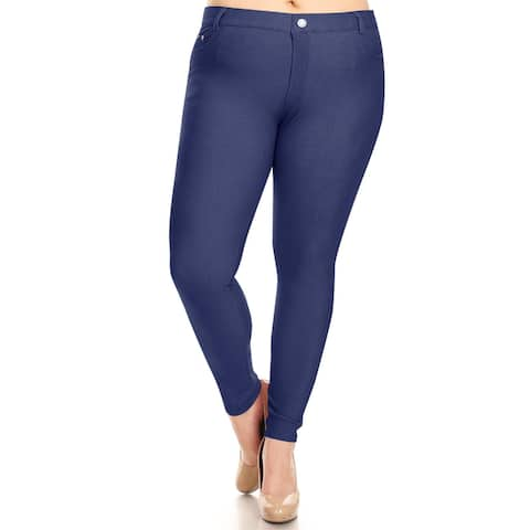 Women's Solid Plus Size Stretch Casual Leggings Denim Jeans Pants
