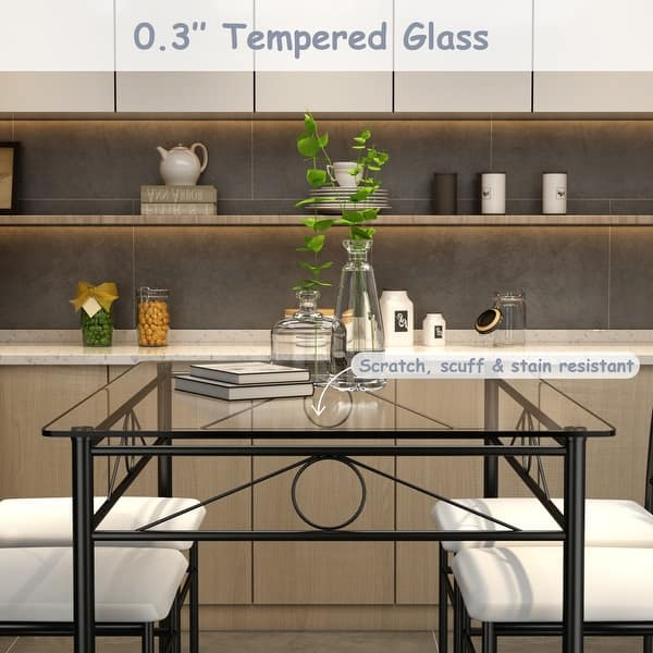 Costway 5 Piece Dining Set Glass Metal Table And 4 Chairs Kitchen Dining Room Furniture Overstock 21009938