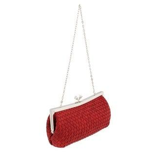Scheilan Red Fabric Weave Knot Clutch/Shoulder Bag - 9-4.5-2