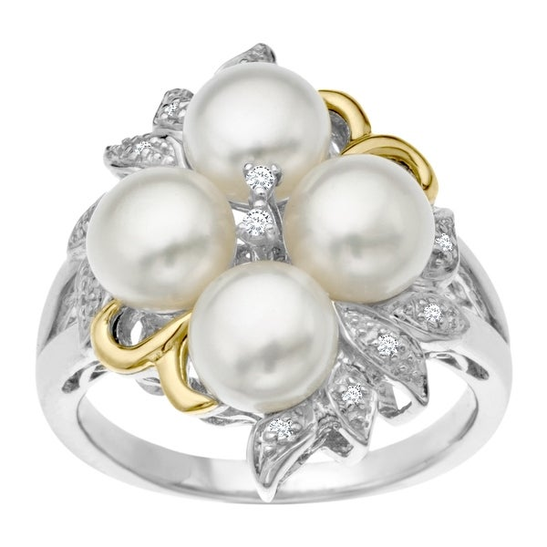 6 mm Pearl Ring with Diamonds in Sterling Silver and 14K Gold