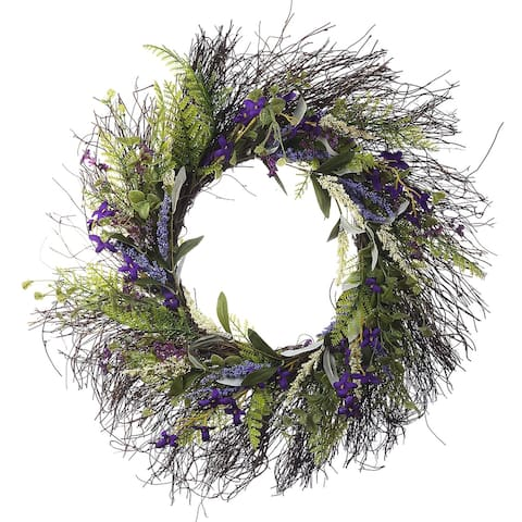 """Enova Home 22"""" Artificial Lavender Flower Wreath with Green Leaves for Festival Celebration Front Door Wall Window Decoration"""