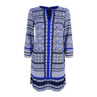 Vince Camuto Women's Printed Keyhole Shift Dress - Blue