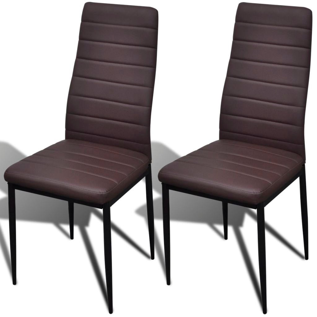 Fantastic Vidaxl 2 Pcs Brown Slim Line Dining Chair Gmtry Best Dining Table And Chair Ideas Images Gmtryco