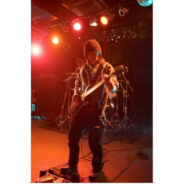 """""""Young man playing electric guitar on stage"""" Poster Print"""