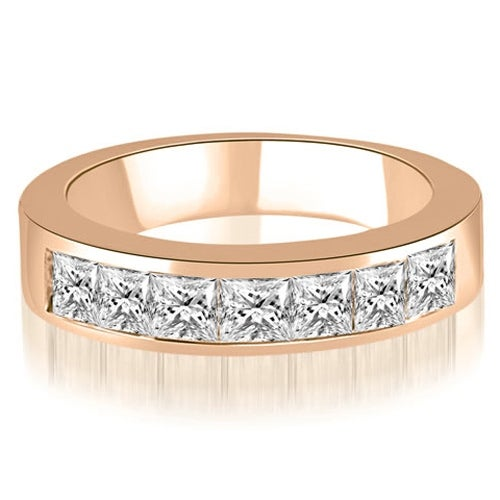 0.70 cttw. 14K Rose Gold Princess Diamond 7-Stone Channel Wedding Band