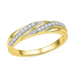 10kt Yellow Gold Womens Round Natural Diamond Simple Band Fashion Ring 1/10 Cttw - White