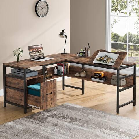 L-Shaped Desk Workstation, Drafting Table Double Corner Office Desk, Brown