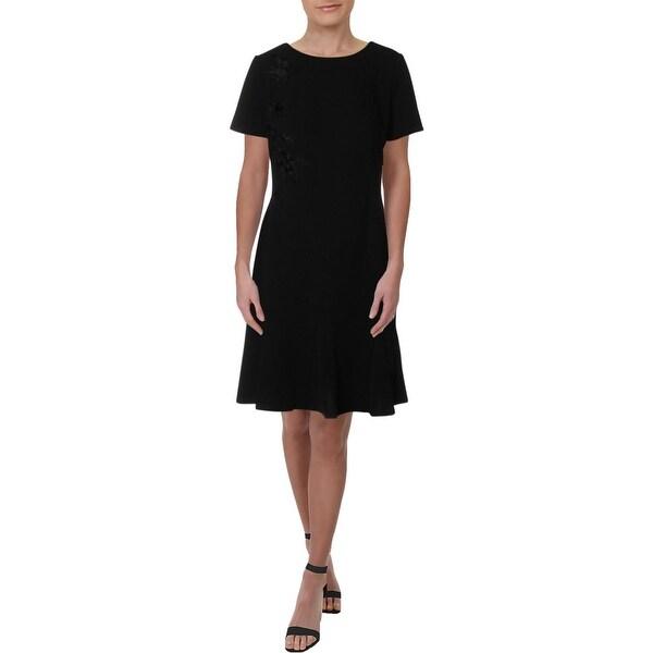 Lauren Ralph Lauren Womens Scuba Dress Flounce Embroidered