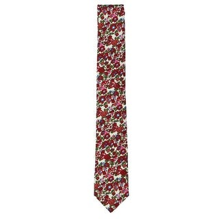 Bar III Men's Neck Tie Red One Size Charter Floral Print Skinny Slim
