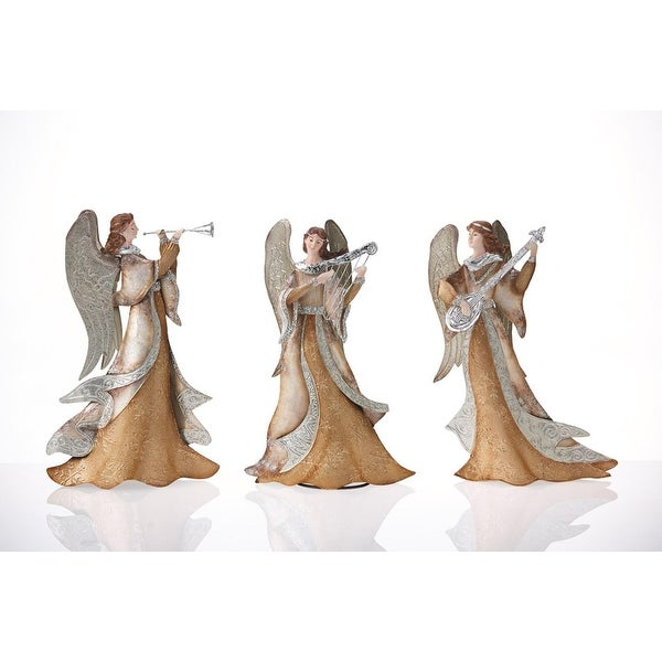 """Set of 3 Gold and Silver Capiz Shell Angels with Instruments Christmas Table Top Decorations 14"""""""