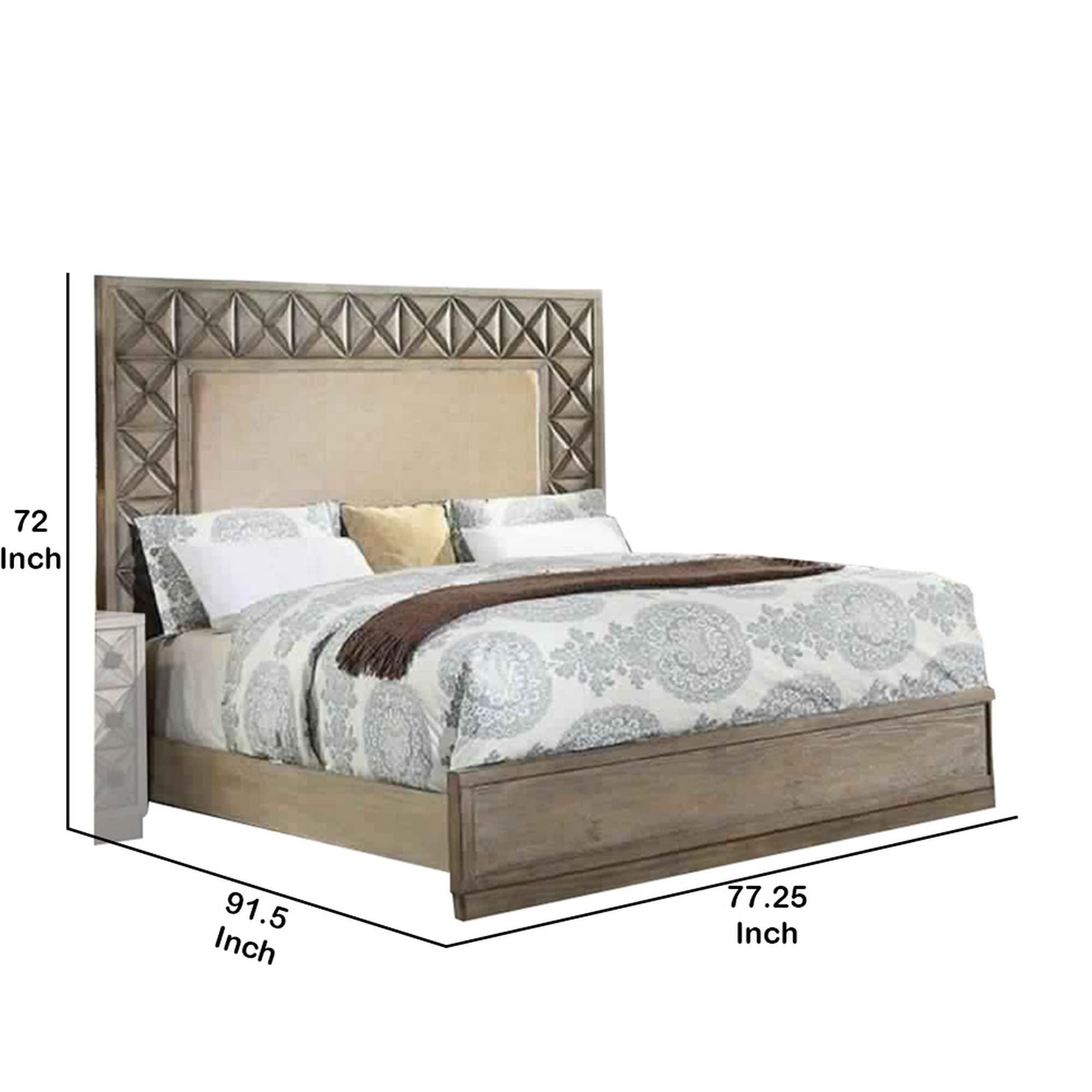 Shop Wooden California King Size Bed With Upholstered Headboard Beige And Brown Overstock 31304720
