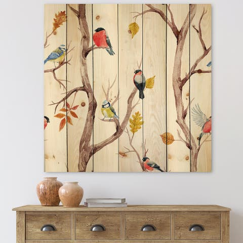 Designart 'Fall Trees and Little Birds' Traditional Print on Natural Pine Wood