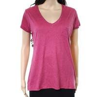 Alternative Sangria Womens Medium V-Neck Pocket Tee Knit Top