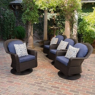 Link to Liam Outdoor Wicker Swivel Club Chair (Set of 4) by Christopher Knight Home Similar Items in Patio Chairs