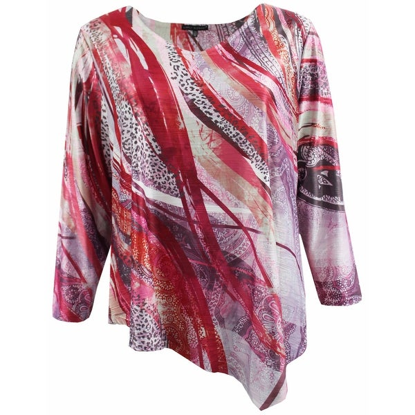 45d53638104 Women Plus Size Long Sleeve Abstract Fashion Blouse Tee Shirt Knit Top Red  G17025L