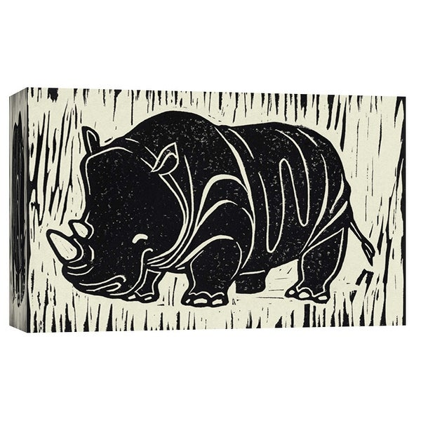 """PTM Images 9-103695 PTM Canvas Collection 8"""" x 10"""" - """"Rhino Linocut"""" Giclee Rhinoceroses Art Print on Canvas"""