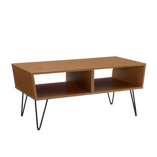 """Delacora WE-BDF42CROCT  42"""" Long Laminate, Wood and Metal Coffee Table with Hairpin Legs"""