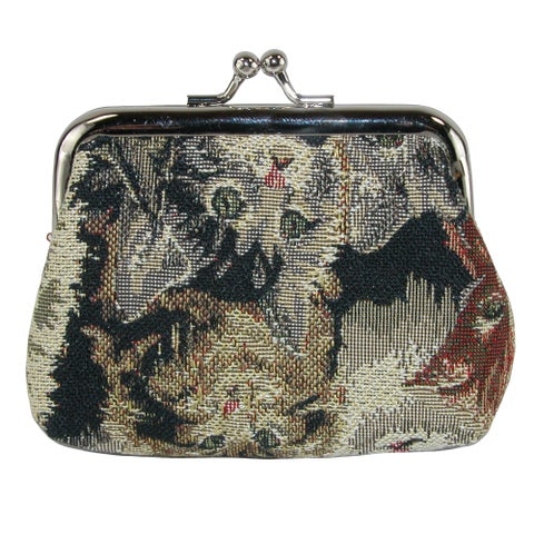 CTM® Women's Cat Print Tapestry Coin Purse Wallet - One size