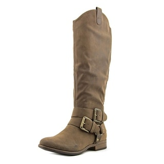 Crown Vintage Buckles Round Toe Canvas Knee High Boot
