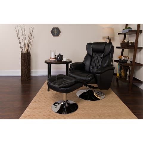 """LeatherSoft Transitional Multi-Position Recliner &Ottoman w/Chrome Base - 30""""W x 35"""" - 46""""D x 41""""H"""